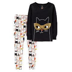 Toddler Girl Carter's Halloween Cat Top & Bottoms Pajama Set