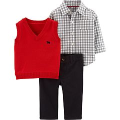 Baby Boy Carter's Checked Shirt, Vest & Pants Set