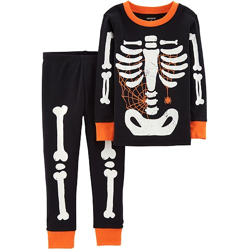 ccfee7fb6 Toddler Boy Carter s Glow-In-The-Dark Skeleton Halloween Top ...