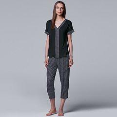Women's Simply Vera Vera Wang Printed Tee & Capri Pajama Set