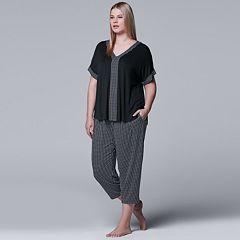 Plus Size Simply Vera Vera Wang Printed Tee & Capri Pajama Set