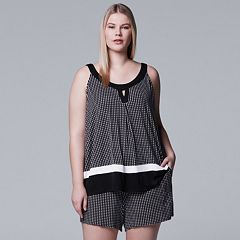 Plus Size Simply Vera Vera Wang Tank & Boxer Shorts Pajama Set