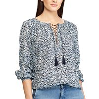 Women's Chaps Lace-Up Peasant Top