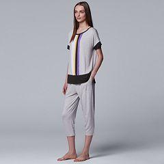 Women's Simply Vera Vera Wang Tee & Capri Pajama Set