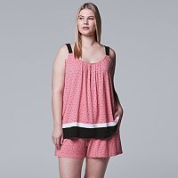 Plus Size Simply Vera Vera Wang Contemporary Tank & Boxer Shorts Pajama Set