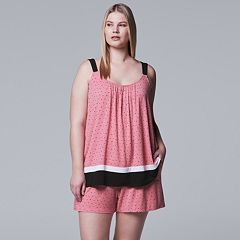 Plus Size Simply Vera Vera Wang Contemporary Tank & Boxer Shorts Pajama Set
