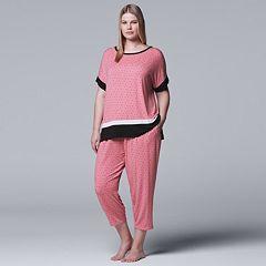 Plus Size Simply Vera Vera Wang Tee & Capri Pajama Set