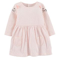 Baby Girl Carter's Print Embroidered Cat Dress
