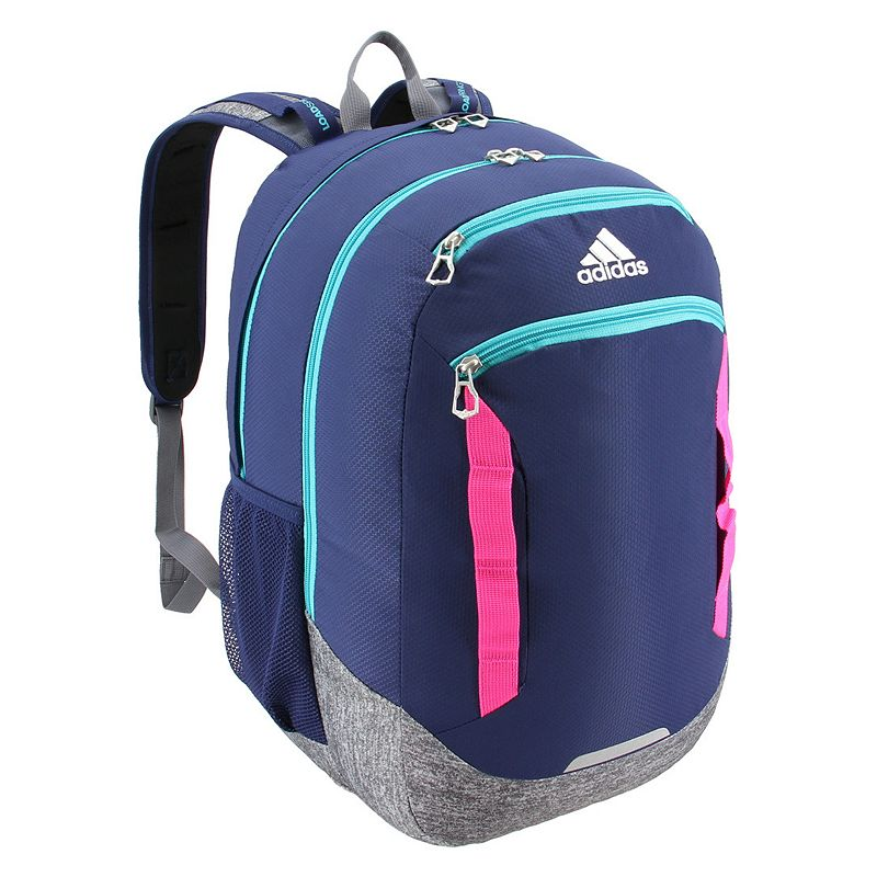 Adidas Excel IV Backpack, Blue Easily go from class to practice with this Adidas backpack. XXL size built with durable material for lasting use Internal zippered organizer keeps items handy Four exterior zippered pockets LoadSpring shoulder straps for added comfort Two water bottle pockets Laptop compartment fits up to a 15.4-in. laptop 20.5 H x 13 W x 14.5 D Weight: 1.5 lbs. Polyester Zipper closure Manufacturer's lifetime limited warrantyFor warranty information please click here Model no. 5145454 Model Numbers Gray Black Mint: 5145454 White Jersey Scarlet: 5145479 Black Shock Pink: 5145494 Carbon Bright Blue: 5145515 Onix Aqua Lilac: 5145489 Rainbow Onix White: 5145496 Dark Blue: 5145476 Clear Mint: 5145465 Onix Jersey Pink: 5145522 Black Blue Looper: 5145524 Neo White Black: 5145442 Black Jersey: 5145501 Black: 5145460 Black Red: 5145468 Scarlet Khaki: 5145451 Size: One size.