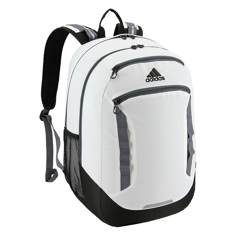 Adidas Excel IV Backpack, White Easily go from class to practice with this Adidas backpack. XXL size built with durable material for lasting use Internal zippered organizer keeps items handy Four exterior zippered pockets LoadSpring shoulder straps for added comfort Two water bottle pockets Laptop compartment fits up to a 15.4-in. laptop 20.5 H x 13 W x 14.5 D Weight: 1.5 lbs. Polyester Zipper closure Manufacturer's lifetime limited warrantyFor warranty information please click here Model no. 5145454 Model Numbers Gray Black Mint: 5145454 White Jersey Scarlet: 5145479 Black Shock Pink: 5145494 Carbon Bright Blue: 5145515 Onix Aqua Lilac: 5145489 Rainbow Onix White: 5145496 Dark Blue: 5145476 Clear Mint: 5145465 Onix Jersey Pink: 5145522 Black Blue Looper: 5145524 Neo White Black: 5145442 Black Jersey: 5145501 Black: 5145460 Black Red: 5145468 Scarlet Khaki: 5145451 Size: One size.