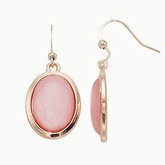 Pink Cabochon Nickel Free Drop Earrings