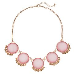 Simulated Crystal & Cabochon Circle Link Nickel Free Necklace