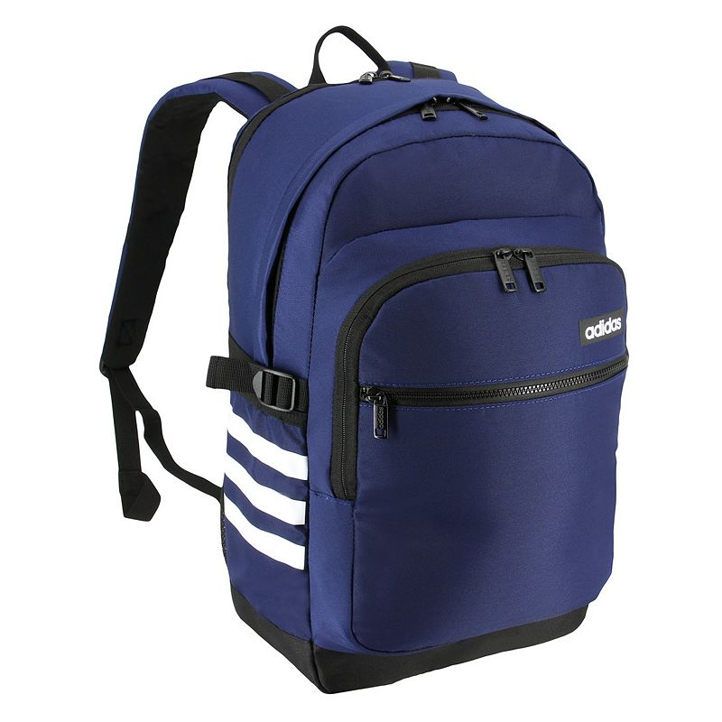 Adidas Core Advantage Backpack, Blue Keep essentials organized with this Adidas backpack. Separated laptop compartment fits up to a 17-in. laptop Linear Adidas logo Side compression straps Water bottle pockets Padded shoulder straps 18.5 H x 13 W x 11.5 D Weight: 1.85 lbs. Polyester Zipper closure Manufacturer's lifetime limited warrantyFor warranty information please click here Model no. 5145511 Model Numbers Onix Jersey: 5145463 Raw Green: 5145455 Dark Blue: 5145520 Black: 5145511 Size: One size.