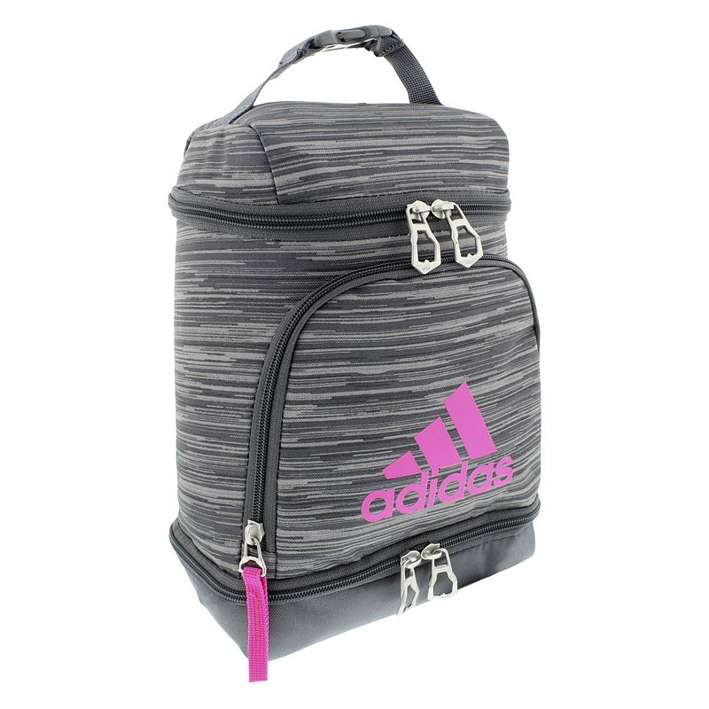 Adidas Excel Lunch Bag, Pink Functional and stylish, this Adidas lunch bag is the perfect way to keep your food ready to eat. Lined main pocket keeps food cold Small bottom pocket Large Adidas branding Mesh divided front pocket holds an ice pack 11.5 H x 7.5 W x 4.5 D Weight: 0.9 lbs. Polyester Zipper closure Manufacturer's lifetime limited warrantyFor warranty information please click here Model no. 5146207 Model Numbers White Looper Blue: 5146204 Scarlet Dapple: 5146205 Shock Pink Pixel: 5146209 Onix Jersey: 5146203 Black: 5146202 Aqua Red: 5146206 Looper Shock Pink: 5146207 Size: One Size.