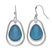 Oval Cabochon Teardrop Nickel Free Drop Earrings