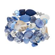 Blue Three Row Stretch Bracelet