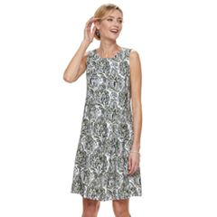 Women's Croft & Barrow® Print Pleated Shift Dress