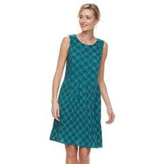 Women's Croft & Barrow® Print Pleated Shift Dress