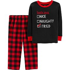 Baby Boy Carter's 'Santa Naughty Nice' Top & Buffalo Plaid Microfleece Bottoms Pajama Set
