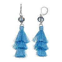 Blue Fringe Nickel Free Drop Earrings
