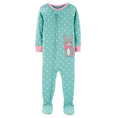 Toddler Girl Carter's Heart Polka-Dot Bunny Rabbit Footed Pajamas