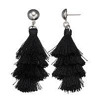 Black Layered Nickel Free Fringe Drop Earrings