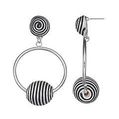 Black & White Striped Bead Nickel Free Hoop Drop Earrings