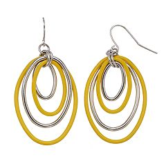 Yellow Nickel Free Concentric Oval Drop Earrings
