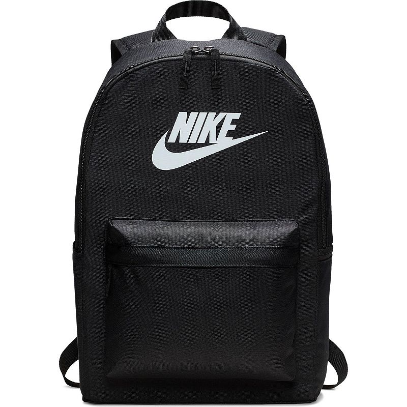 Nike Heritage Backpack, Black Simplicity and functionality combine in this Nike Heritage backpack with its clean, multi-pocket design. Densely woven polyester provides heavyweight support Zippered main compartment offers room for your gear Internal sleeve can store up to a 15-in. laptop Zippered front pouch provides small-item storage Haul loop at the top for an alternative carrying option Shoulder straps and back panel are padded for comfortable carrying 18 H x 13 W x 7 D Weight: 1 lbs. Polyester Zipper closure Model no. BA5761 Size: One size. Color: Black.