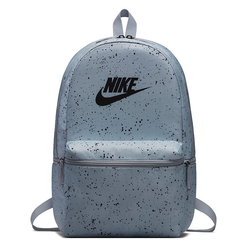 Nike Heritage Backpack, Grey Simplicity and functionality combine in this Nike Heritage backpack with its clean, multi-pocket design. Densely woven polyester provides heavyweight support Zippered main compartment offers room for your gear Internal sleeve can store up to a 15-in. laptop Zippered front pouch provides small-item storage Haul loop at the top for an alternative carrying option Shoulder straps and back panel are padded for comfortable carrying 18 H x 13 W x 7 D Weight: 1 lbs. Polyester Zipper closure Model no. BA5761 Size: One size. Color: Grey.