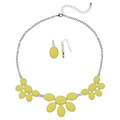 Yellow Oval Necklace & Earring Set
