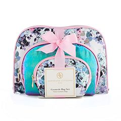 Adrienne Vittadini 3-pc. Floral Cosmetic Bag Set
