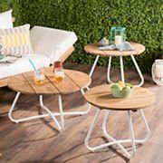 Safavieh Indoor / Outdoor Round Coffee Table 3 pc Set