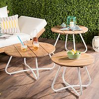 Safavieh Indoor / Outdoor Round Coffee Table 3 pc Set