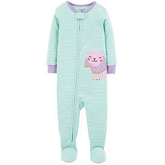 Baby Girl Carter's Striped Puppy Dog & Donut Footed Pajamas