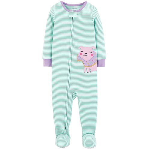 bf81be5b7 Baby Girl Carter s Striped Puppy Dog   Donut Footed Pajamas