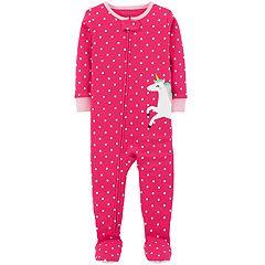 Baby Girl Carter's Polka-Dot Unicorn Footed Pajamas