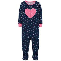 Baby Girl Carter's Floral & Heart Footed Pajamas