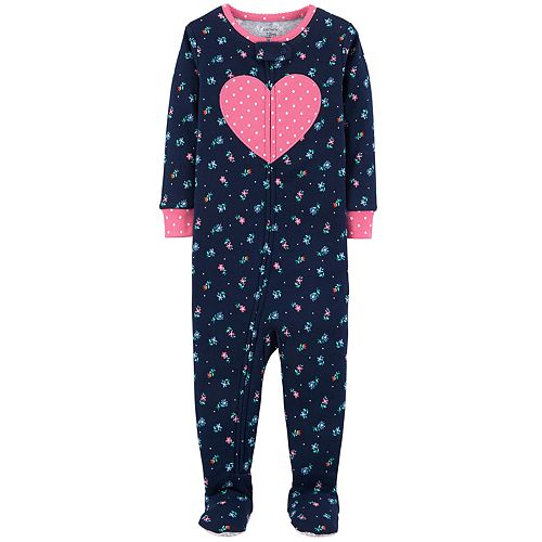 817eae188 Baby Girl Carter s Floral   Heart Footed Pajamas