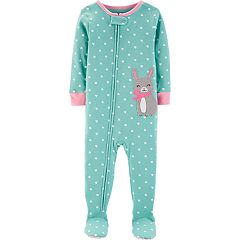 Baby Girl Carter's Heart-Dot Bunny Rabbit Footed Pajamas