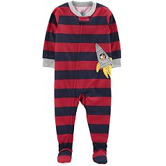 Baby Boy Carter's Striped Raccoon Rocketship Footed Pajamas