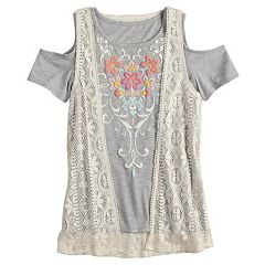 Girls 7-16 & Plus Size Mudd® Cold Shoulder Graphic Print Tee & Crochet Vest Set