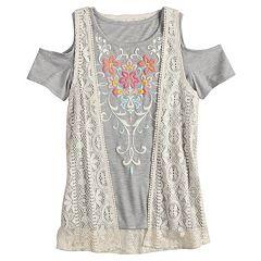 Girls 7-16 & Plus Size Mudd® Cold Shoulder Graphic Print Tee & Crochet Vest Set