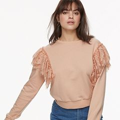 k/lab Lace Cropped Sweatshirt