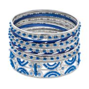 Blue Beaded Bangle Bracelet Set