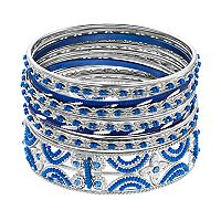 Blue Beaded Bangle Bracelet Set