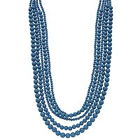 Blue Beaded Multi Strand Necklace