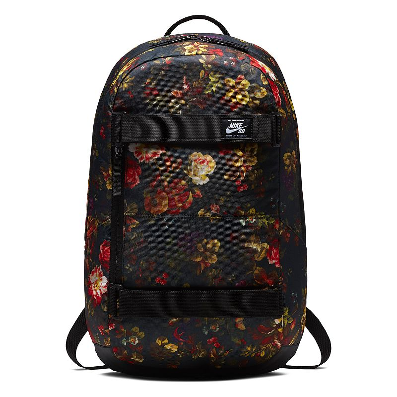 Nike Courthouse Backpack, Multicolor Designed to hold it all, this Nike Courthouse back is great for the skate park, school and everything in between. Durable and water-resistant bag keeps your gear close at hand Water-resistant bottom helps keep your gear dry Straps on the front secure your skateboard in place Side pockets are accessible while carrying your board Large, zippered main compartment provides ample storage for your gear Internal sleeve can store up to a 15-in. laptop 20 H x 12 W x 7 D Weight: 1 lbs. Polyester Zipper closure Model no. BA5438 Size: One size. Color: Multicolor.