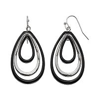 Black Nickel Free Concentric Teardrop Earrings