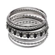 Black & White Textured Bangle Bracelet Set
